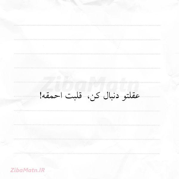 عکس نوشته • عقلتو دنبال کن قلبت اح