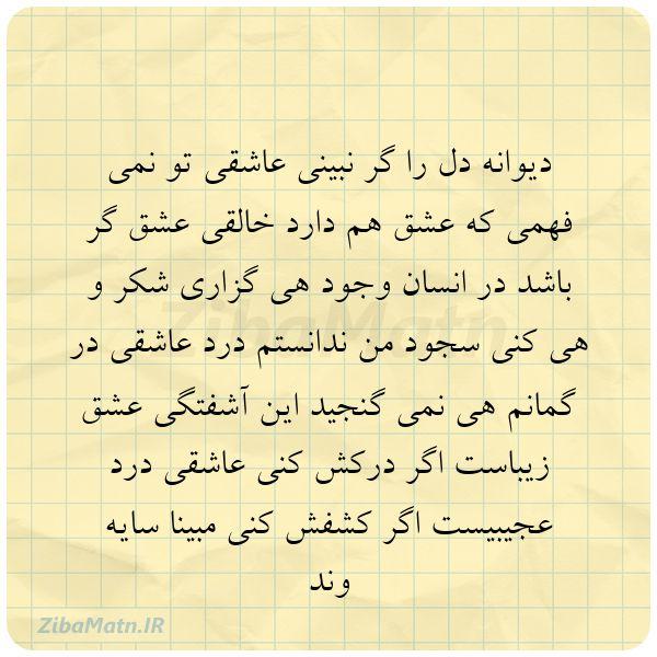 عکس نوشته دیوانه دل را گر نبینی عاشقی ت